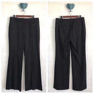 LOFT Solid Black Flat Front Trouser Pants